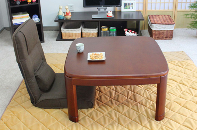 Japanese Kotatsu Table Square 80cm Walnut Asian Home Furniture Living Room Modern Low Foot Warmer Heated Solid Wood Table Design(China (Mainland))