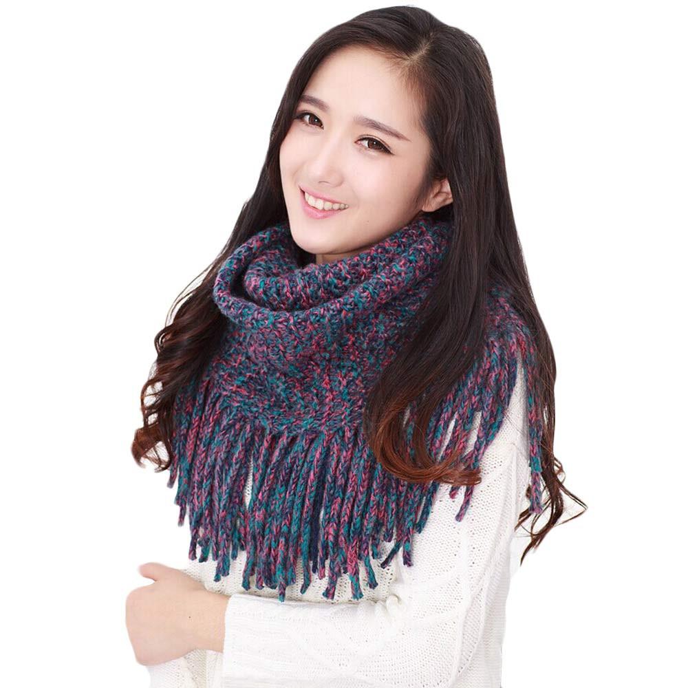 Newly Design Tassels Knitted Circle Wool Scarf Women Fashion Shawl Wrap Winter Warm Collar  Hot Sale