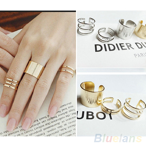 3Pcs Set Fashion Top Of Finger Over The Midi Tip Finger Above The Knuckle Open Ring