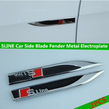 Buy SLINE Car Side Blade Fender Metal Electroplate Black Decorative Stickers A1 A3 A4L A6L A7 A8 Q3 Q5 Q7 TT Car Styling for $8.90 in AliExpress store