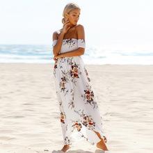 Buy chiffon plus size sexy shoulder print women casual summer maxi long summe beach dress vestidos femininos party 2017 dresses for $10.97 in AliExpress store