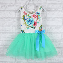 Free shipping 2016 New clothing Bow Floral Cotton ball Gown O-Neck Sleeveless Baby girls dress dresses A223(China (Mainland))