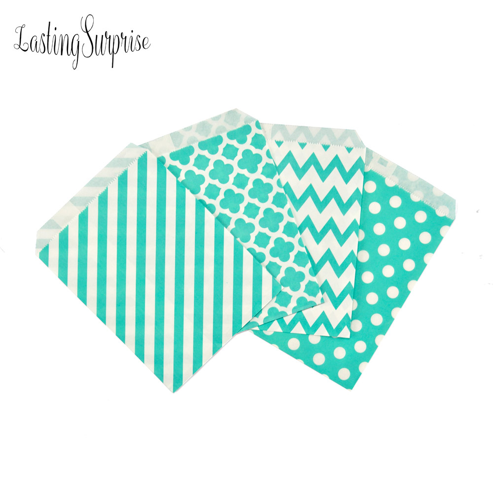 Mint Blue 25pcs Wavy Lines Stripes Paper Bags Popcorn Bags Party Food Gift Package Bag Wedding Birthday Party Supplies 5*7Inch(China (Mainland))