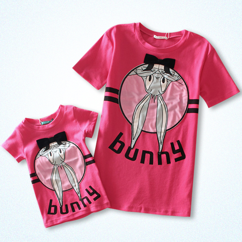 Bugs bunny 100% cotton loose long design family short-sleeve fashion t-shirt lovers children's clothing(China (Mainland))