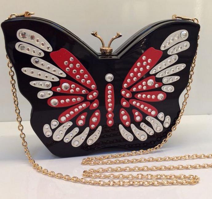 Здесь можно купить  black bridal diamond butterfly shaped clutch bag acrylic evening bags women party clutches handbags small chain shoulder bag744t  Камера и Сумки