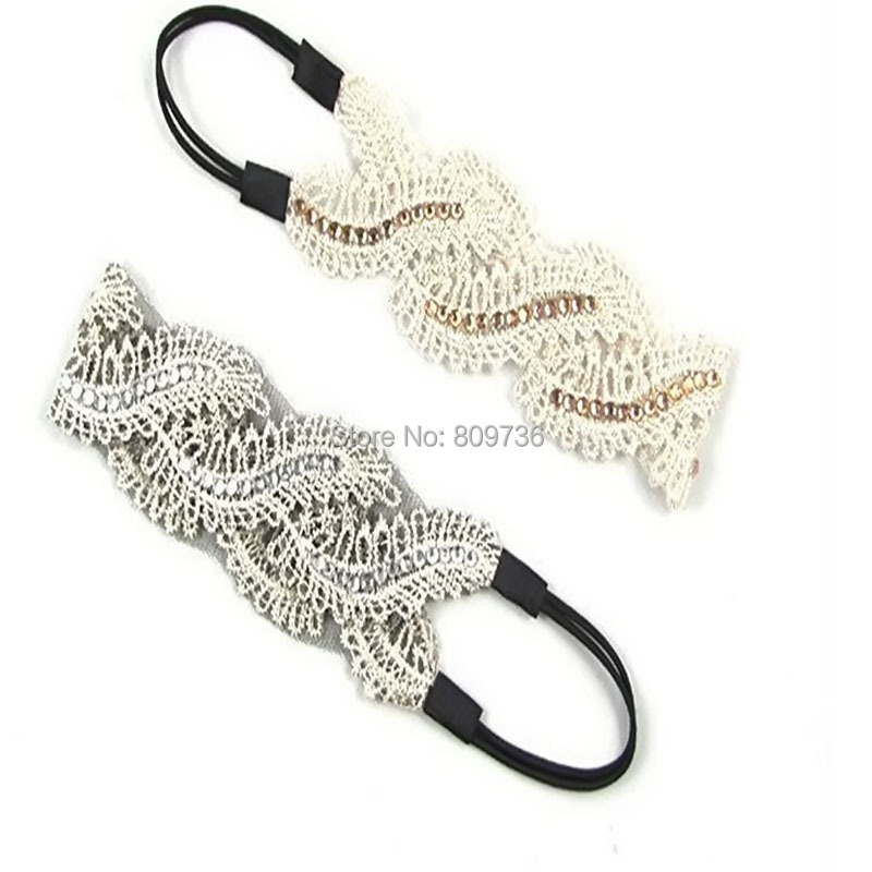 Fashion Women Girls Crystal Beads Lace Wide Elastic Headband S-types Leaves Rhinestone hair bands hairwear Accessories HOT(China (Mainland))