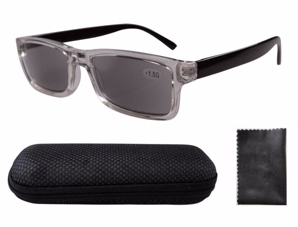 Free Shipping FR003 Clear Plastic Frame Black Arms Grey Tinted Readers Reading Glasses W case