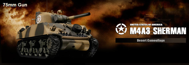 Plastic Model Tanks M4A3 Sherman Desert Camouflage (Hard Treads) Elelctric 2.4G Airsoft RC Tank Hobby(China (Mainland))