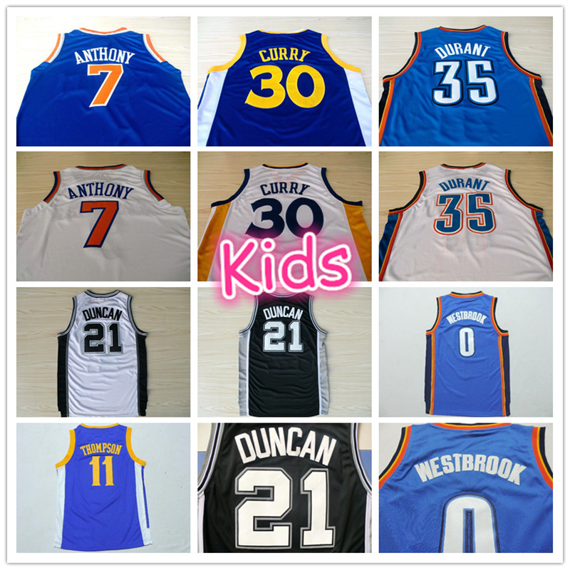 Гаджет  #35 Youth Kevin Durant Jersey, #0 Youth Russell Westbrook Jersey, OKC New Material Kids Basketball Jersey Free Shipping None Спорт и развлечения