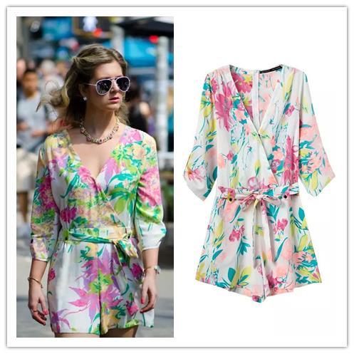 2015 Summer new women's fashion cross V neck half sleeve floral print jumpsuit shorts playsuit - Chic Classic Store store