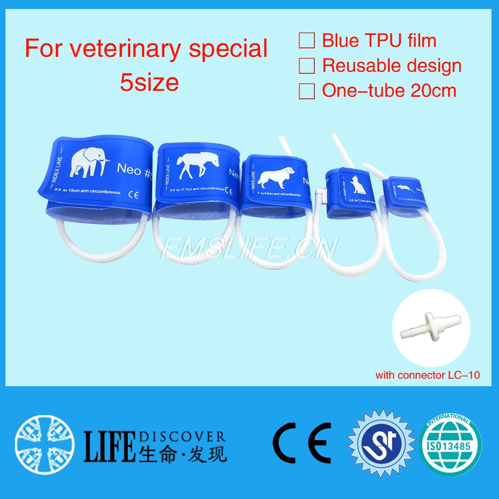 veterinary blood pressure cuff of patient monitor for small animals with single tube full 5sizes packing with connector LC-10