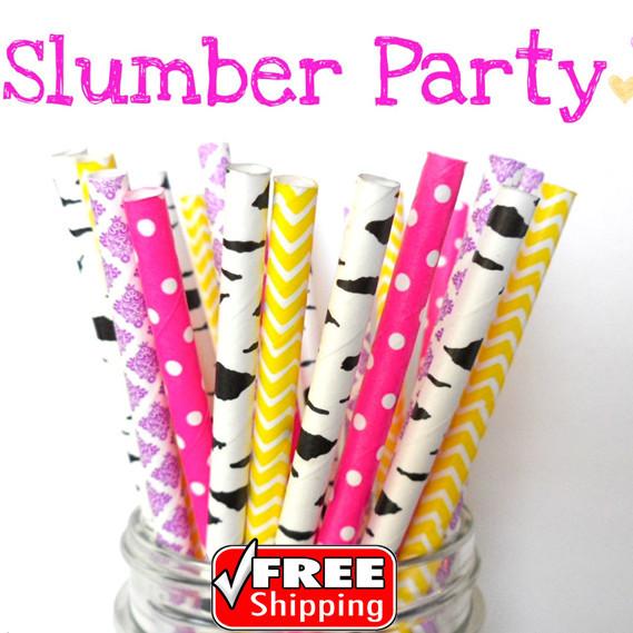 200pcs Mixed 4 Designs Slumber Party Themed Paper Straws-Dot,Birch,Damask,Chevron-Deep Pink,Purple,Yellow,Black-Zebra,Retro,Bulk(China (Mainland))
