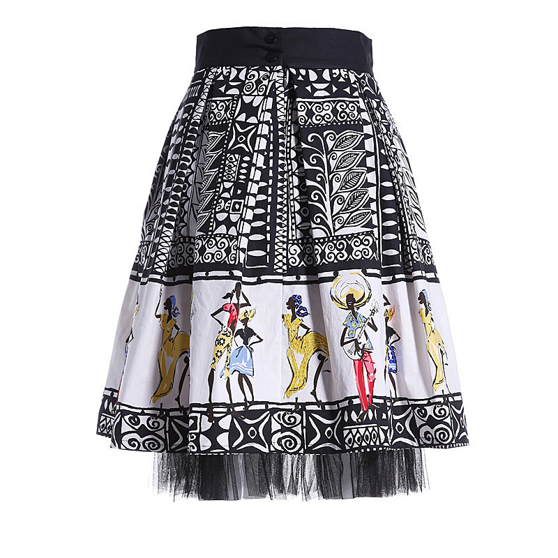 New 2015 summer women brand vintage fashion patterns print sequined tropical dance people skirt mesh patchwork ball gown skirtsОдежда и ак�е��уары<br><br><br>Aliexpress