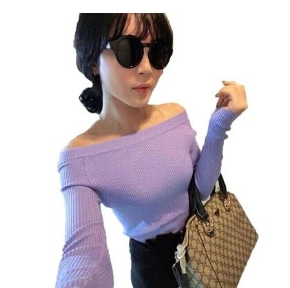 Free Shipping Autumn And Winter Basic Sweater Female Slit Neckline Strapless Sweater Thickening Sweater Top Thread Slim(China (Mainland))