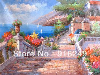 Mediterranean Landscape Painting   on Canvas  Discount Sceneries