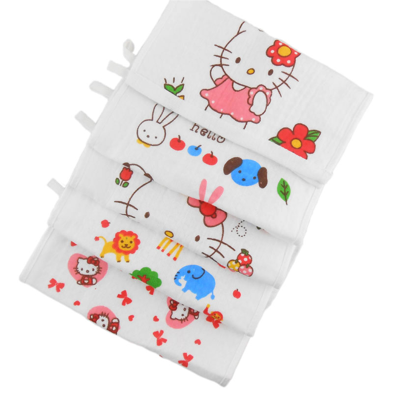 5pcs 100% Cotton Gauze Double Layer Newborn Baby Infant Cartoon Face Hand Bathing Towel Bibs 25*25cm Feeding Square Handkerchief(China (Mainland))