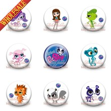 45pcs/Lot Pet Shop PVC Cartoon Figure Pin Badge Buttons Holde brooches,Mixed 18 Styles, Clothes/Bags Accessories School Supplies(China (Mainland))