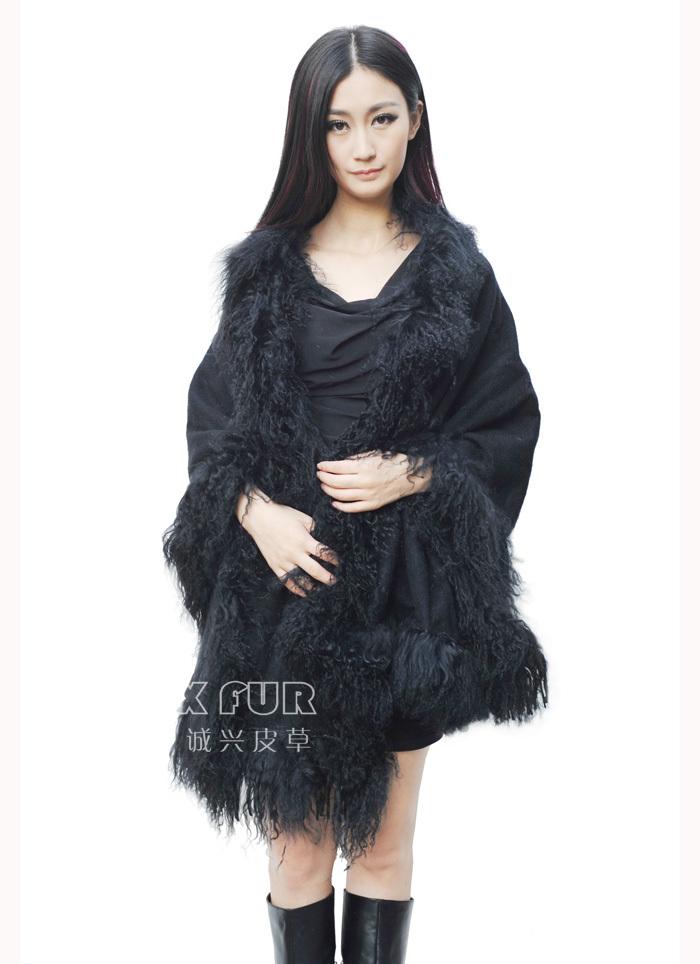 CX-B-P-01A Mongolian Lamb Fur Trimmed Pashmina Shawls ~ New Arrive ~ Drop ShippingОдежда и ак�е��уары<br><br><br>Aliexpress
