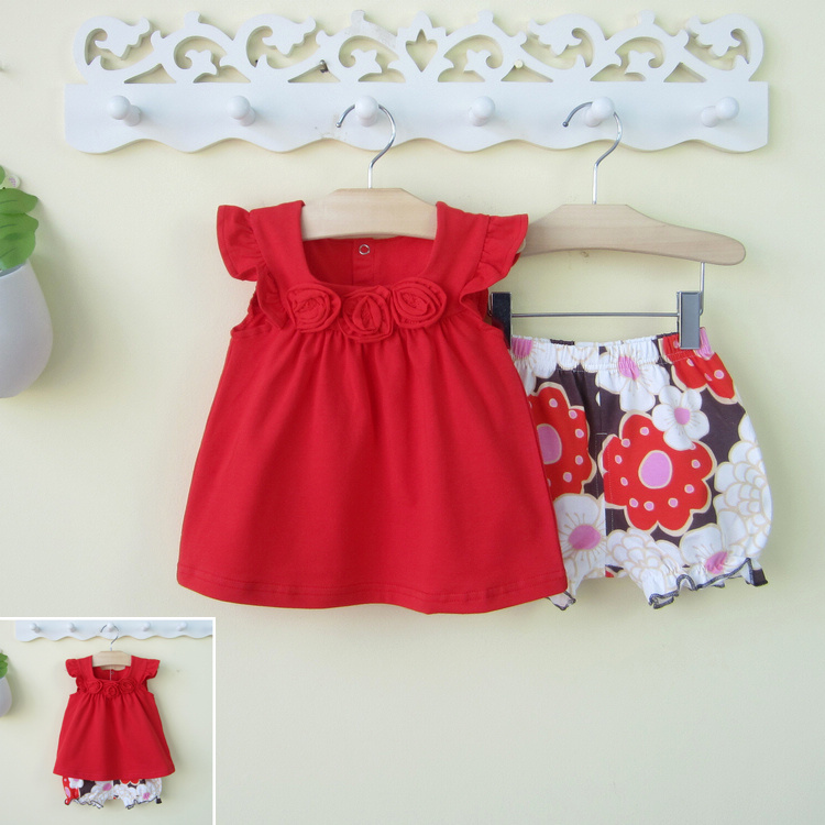 Childrens clothing female child summer 0-1 - 2 - 3 years old shorts set twinset 100% female cotton infant baby clothes <br><br>Aliexpress