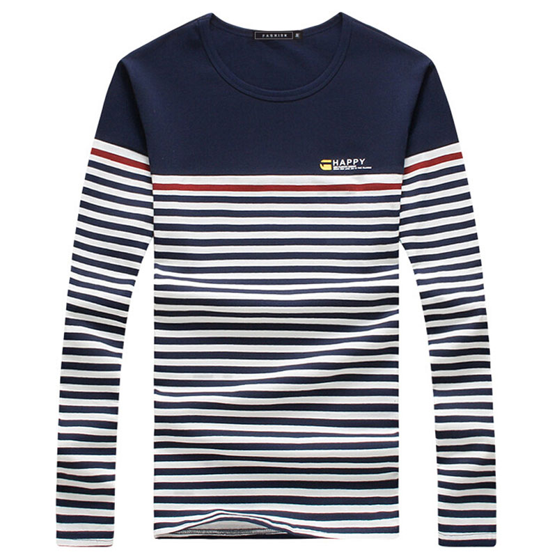 Fashion 2016 Mens T-Shirt Casual O-Neck Long Sleeve Slim stripe Tshirt Homme Men M-5XL(China (Mainland))