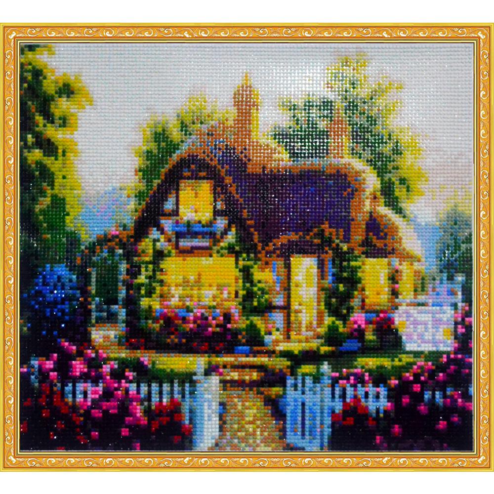 вышивка крестом схемы сказочный домик в деревне фото