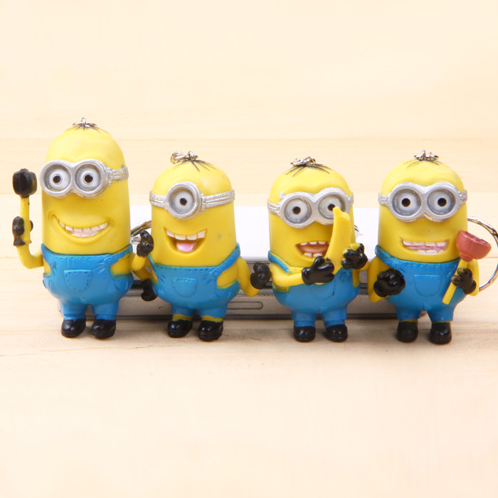 Despicable Me 2&3 4PCS/set Minions Keychain action Figures 3D eye Toys PVC doll Decoration Brinquedos Star Kids Toy Gift 0569(China (Mainland))