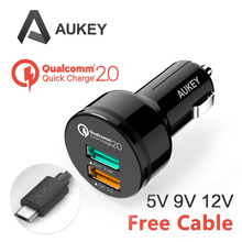 [Qualcomm Certified] Aukey Quick Charge 2.0 30W 2 Ports USB Car Charger Adapter (AIPower 5V/2.4A+Quick Charge) with Micro cable(China (Mainland))