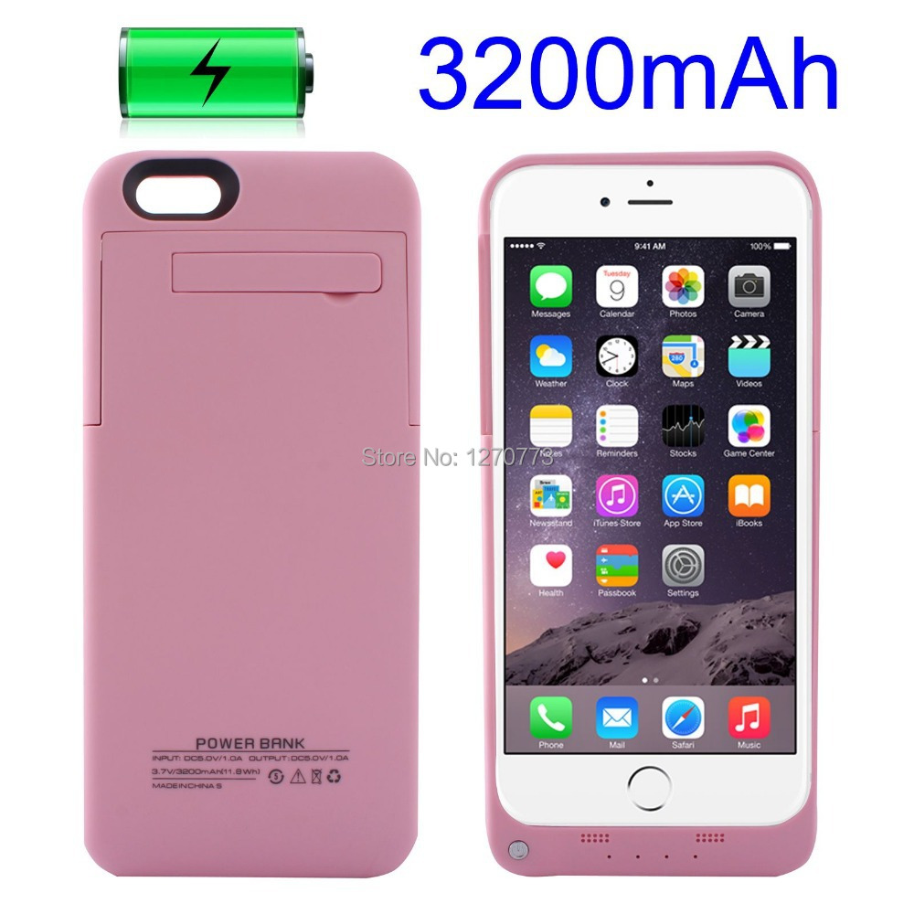 """3200mAH Pack Power Bank Rechargeable External Battery Portable Backup Charger Case Cover For iphone 6 4.7"""" With Stand(China (Mainland))"""