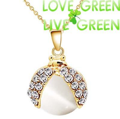 NEW insect ladybug fashion women party date 18k yellow gold plated cat eye stone Pendant Neckalace fashion Jewelry 80196(China (Mainland))
