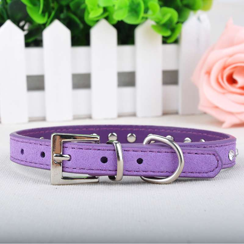 US/UK/ES/GB STOCK!! 0.6cm Wide Dimante Personalized Suede Leather Bling Rhinestone Dog Collars Pet Products XS/S/M J*60CHM469(China (Mainland))