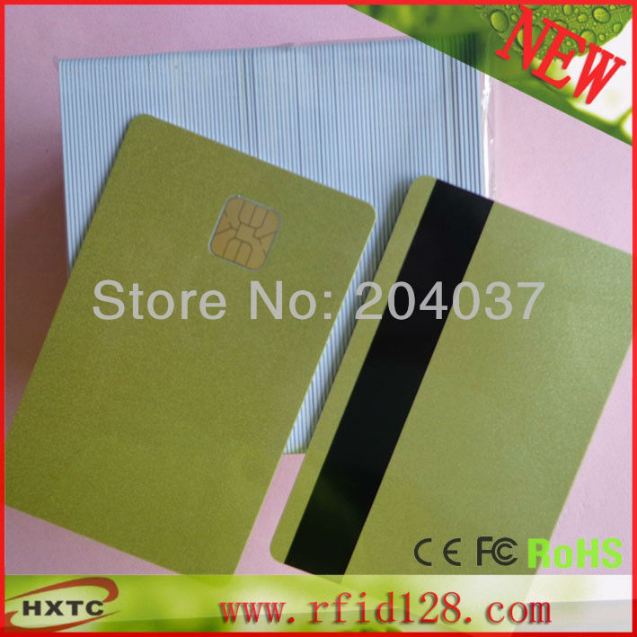Free Shipping  (50PCS/Lot)  Contact Sle4428 Chip Gold  Color Card  /Purchase Card with Magnetic Stripe 1K Memory<br><br>Aliexpress