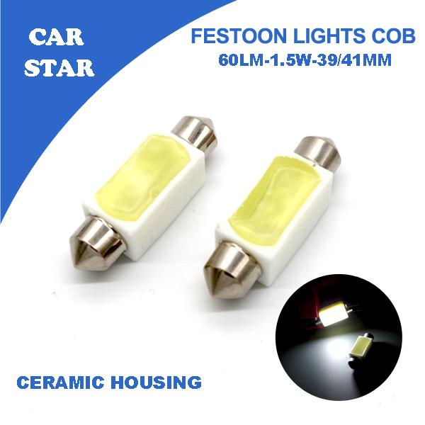 4pcs Car Star Led Dome Festoon Lights 31/39/41mm COB C5W DC12V Ceramic Housing Super White Auto LED Reading Lights FREE SHIPPING(China (Mainland))