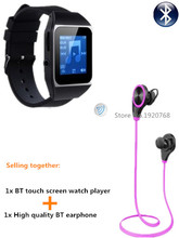 8GB watch MP4 player + Bluetooth headphones, bluetooth sport earphone wireless earbuds + bluetooth sport MP4 watch players(China (Mainland))