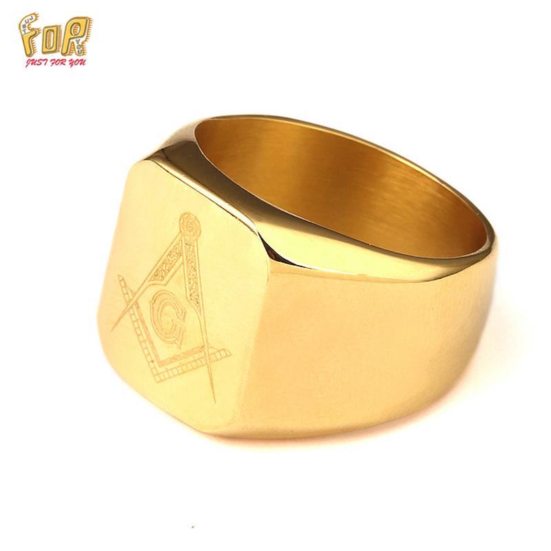 JFY 18k Gold Plated Free Mason Rings For Man Stainless Steel Freemason Masonic Ring Wholesale Price USA Size(China (Mainland))