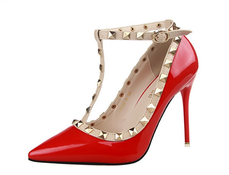 Free shipping fashion thin heels pionted shoes women rivets pumps 8 colors 1132-8<br><br>Aliexpress