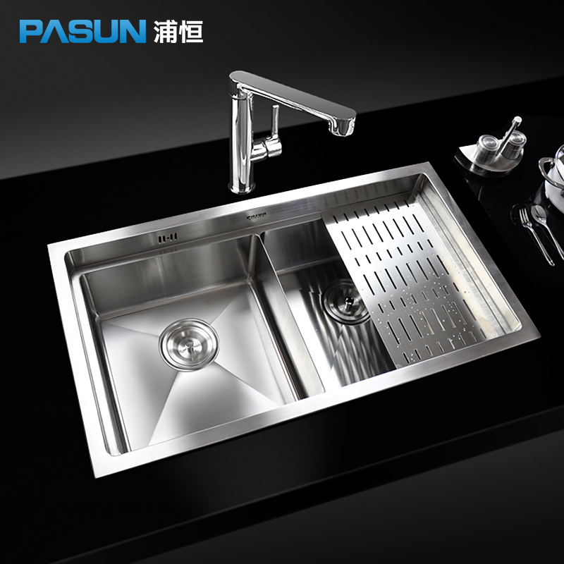 Hang Pu-slot sink packages kitchen basin big thick 304 stainless steel table vegetables basin sink Continental manual(China (Mainland))