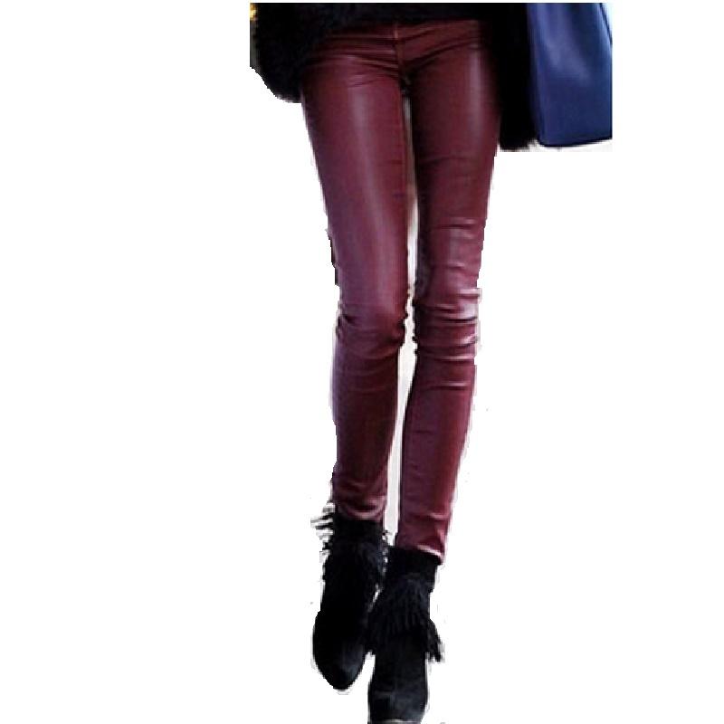 Capris PU leather women pants slim trousers black plus size XXL winter 2016 velvet inner high waist fashion ukraine elegant pant(China (Mainland))