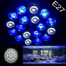 E27 18W Pa38 6white 12blue LED Aquarium Light Bulb Saltwater Coral reefs and aquarium fishes Light Bulb wholesale price(China (Mainland))