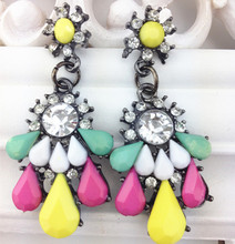 4 colors 2015 New Fashion Colorful Gem Earrings Brand Drop dangle Resin Earrings for women Crystal Earring Charm Jewelry XY-E415(China (Mainland))
