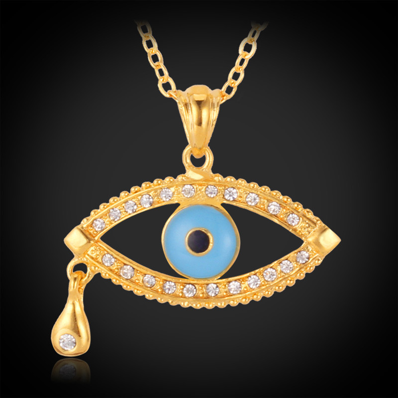 Evil eyes necklace Gold 18k Plated free shipping crystal Necklaces Pendants Women/ Men Jewelry Turkish evil eyes wholesale P559(China (Mainland))