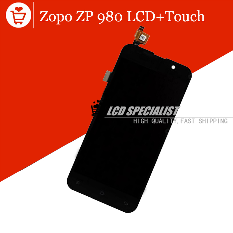 100% Original New ZOPO ZP980+ LCD Display +Digitizer Touch Screen Glass for ZOPO ZP980 ZP980+ C2 C3 Black color