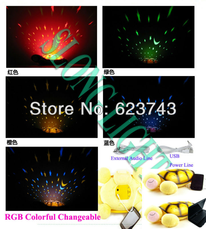 Free Shipping 5PCS Turtle Night Light Stars Constellation Lamp with MP3 AUDIO SPEAKER and USB Power line, Music Lights BY DHL(China (Mainland))