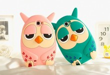 Fashion Korean Style  cartoon owl 3D Cute Cartoon Lovely Soft Silicone Phone Case Back Cover For Samsung Galaxy Note 2 II N7100(China (Mainland))