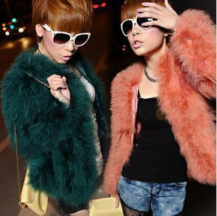 free shipping! new fashion autumn winter luxury faux ostrich fur coats for women
