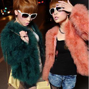 free shipping! new fashion autumn winter luxury faux ostrich fur coats for women
