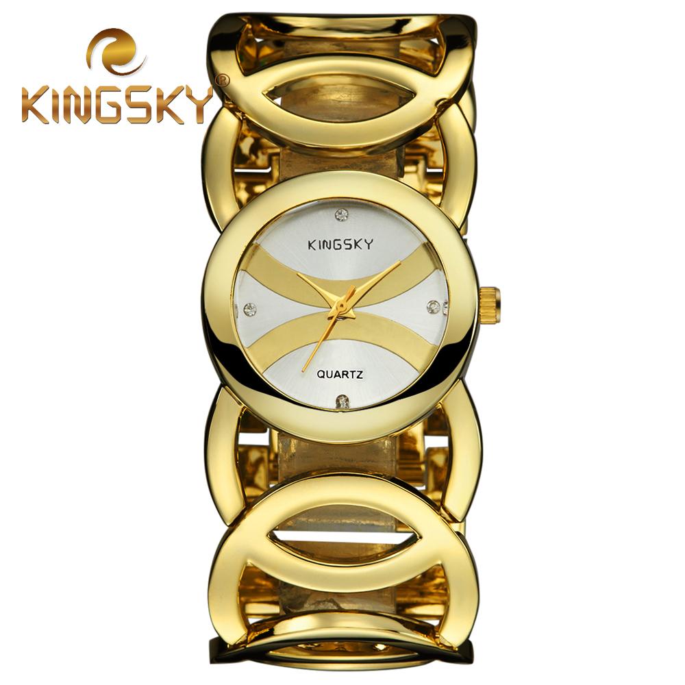 Big Chain Cross Brand Alloy Cricle Women Lady Golden Rose Gold Bracelet Wrist Watch