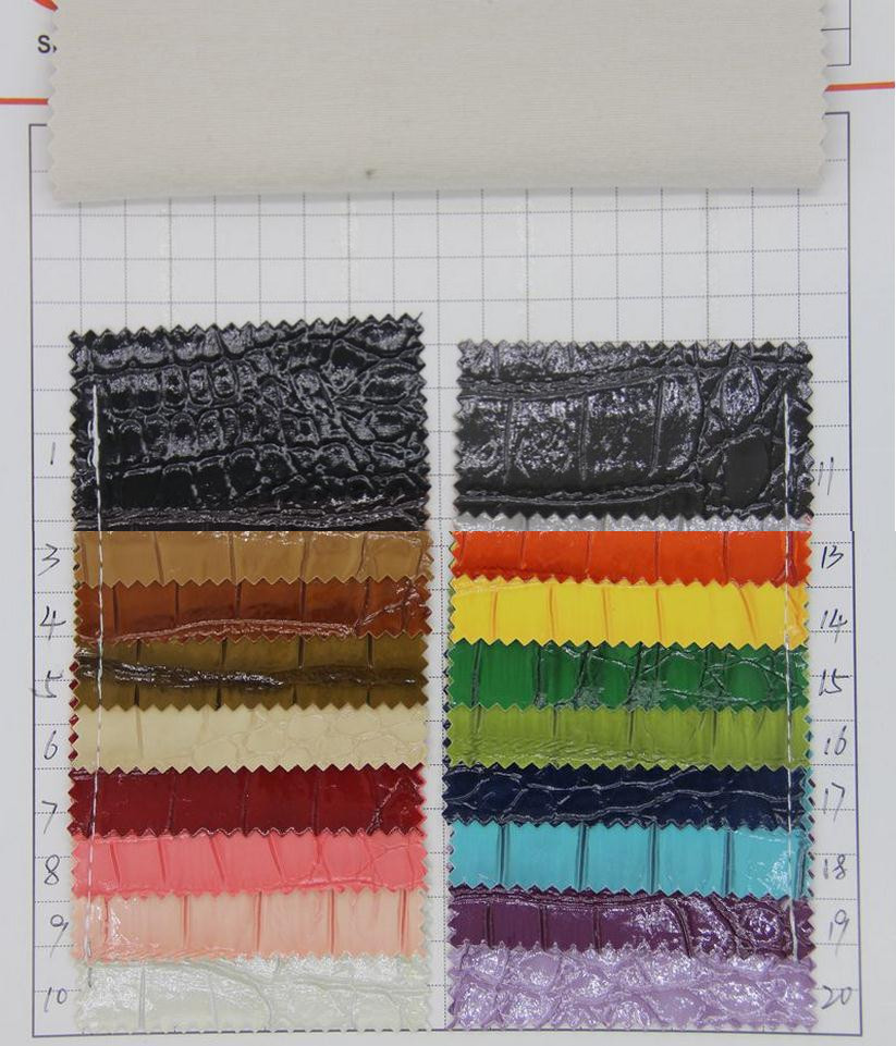 Factory supply crocodile grain leather fabric glossy crocodile embossed artificial PVC leather material wholesale(China (Mainland))