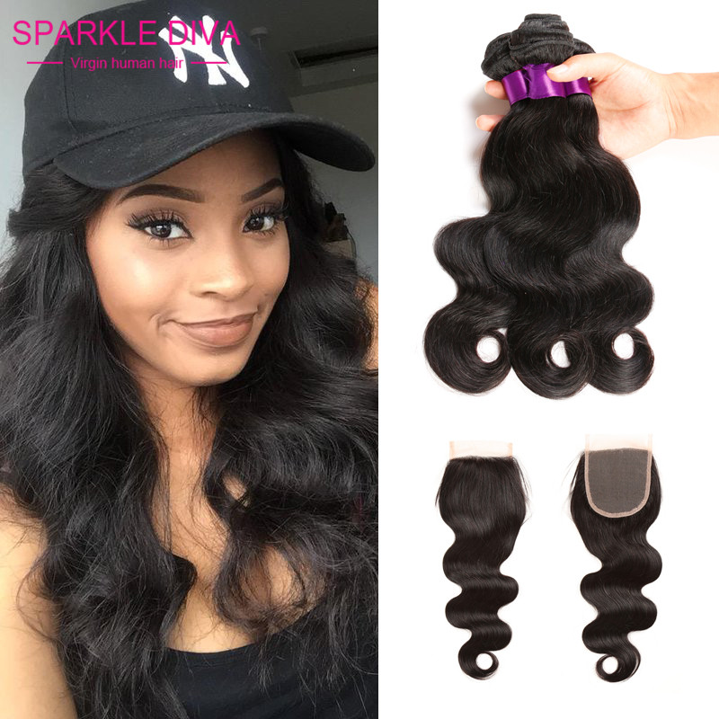 Peruvian Virgin Hair With Closure 3 Bundles With Closure Cheap Human Hair With Closure Piece 7A