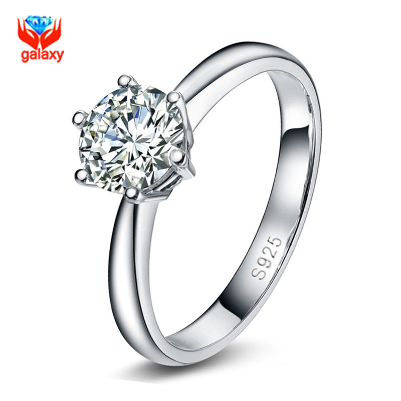 2016 New Design 6 Claws Wedding Rings for Women Pure 925 Sterling Silver 1 Carat CZ Diamond Engagement Ring Jewelry ZR114(China (Mainland))