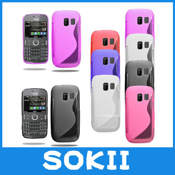 [case]Sokii,Grip S Line Wave Gel Case Soft Phone Cover For Nokia Asha 302 case(China (Mainland))
